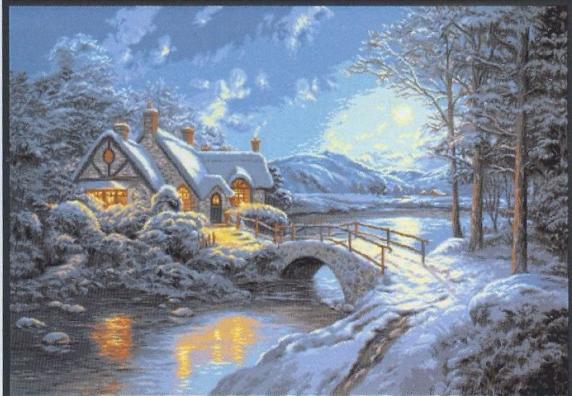 Вышивка зимний вечер крестом