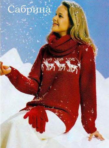 Красный пуловер с оленями и