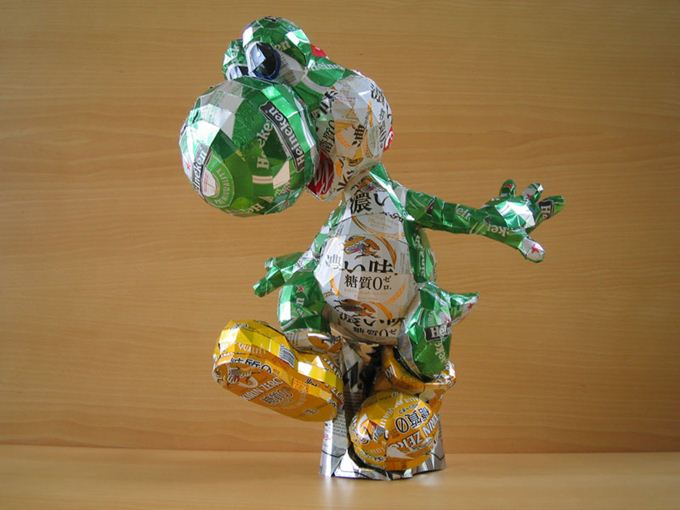 Makaon. Скульптуры из алюминиевых банок