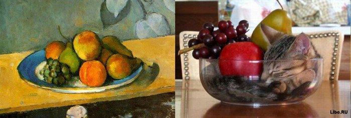 Поль Сезанн, «Яблоки, персики, груши и виноград» (1879) (700x235, 42Kb)