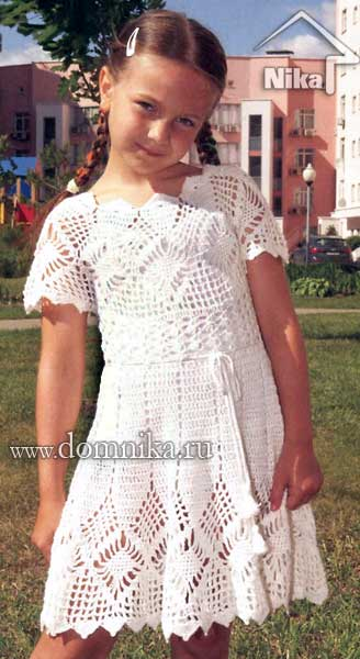 Летнее платье детское на 6 лет крючком