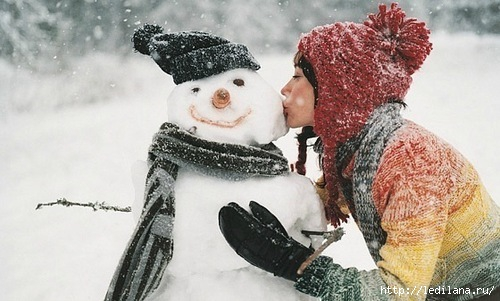 зима и снеговик (500x301, 114Kb)