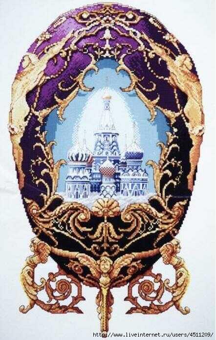 Схема вышивания крестиком яйца Фаберже с белыми куполами православной церкви.