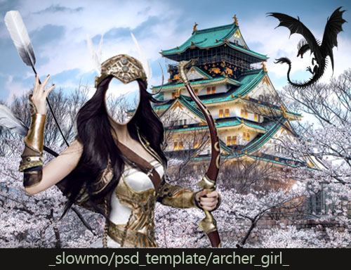 Женский шаблон для фотошоп - Лучница - охотник на драконов/1354815426_Cover (500x384, 109Kb)