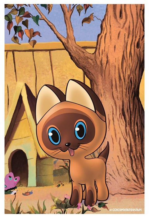 Котенок в корзинке раскраска