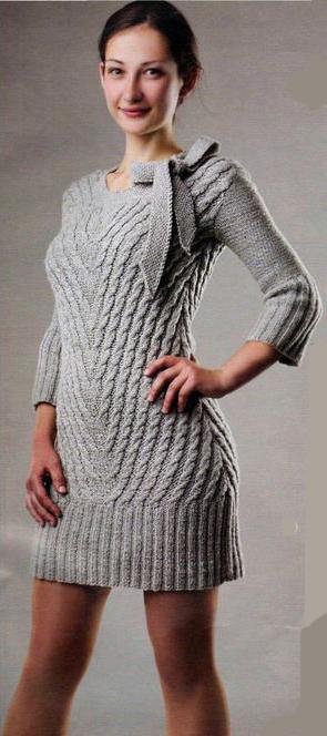 Спицы вязание платье мини платье