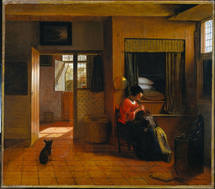 4000579_Interior_with_a_Mother_delousing_her_childs_hair_known_as_A_Mothers_duty (700x614, 350Kb)