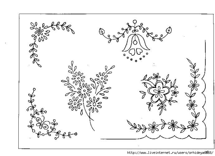 Узоры из цветов для вышивки гладью