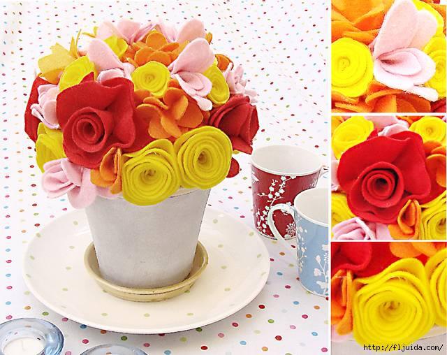 Мастер-класс: как сделать цветы из фетра и сложить из них красивый букет.