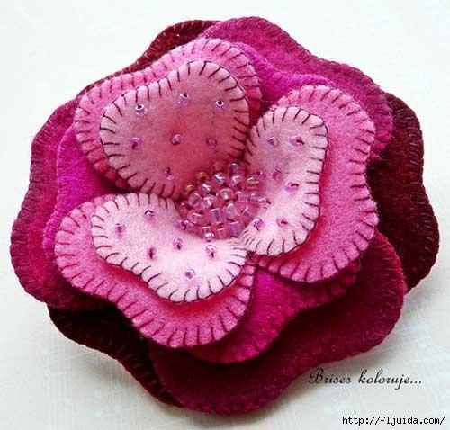 Цветы из фетра своими руками.  Посмотрите какие необыкновенно красивые цветы получаются довольно простым способом.