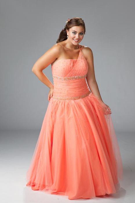 Оранжевое платье 2014 для полных 1