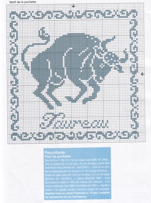 Схема вышивки крестиком телец