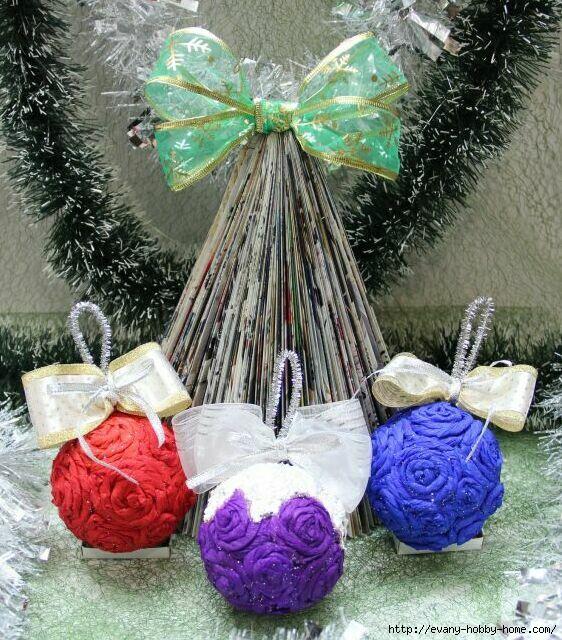Новогодняя елочка и шарики своими руками. Легко и просто!