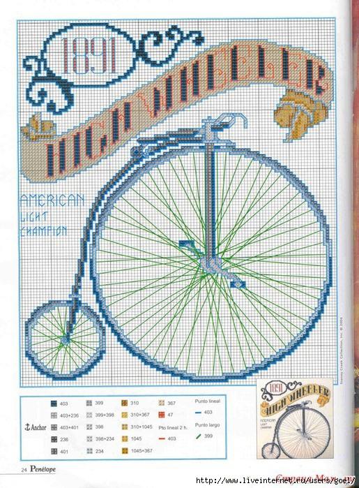 Вышивка. Ретро велосипед.