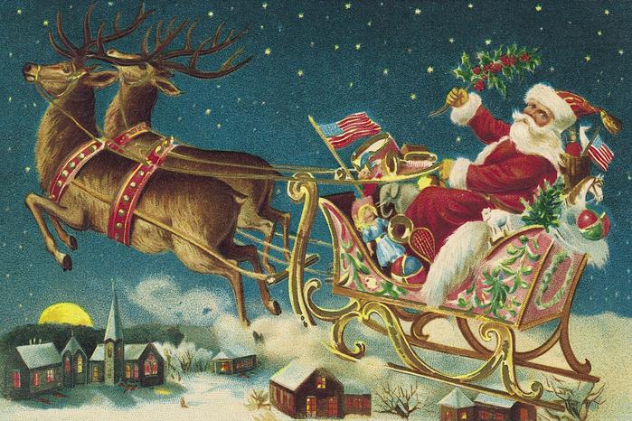 Санта с оленями открытка