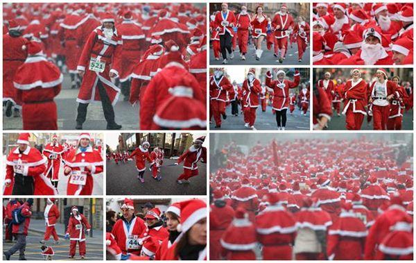 Фотографии. Санта-Клаусы бегут по Европе. Шотландия и Германия
