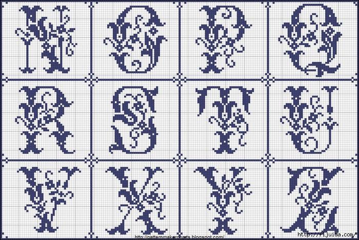 Схемы для вышивки букв.