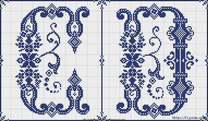 Ивритский алфавит схема вышивки 13