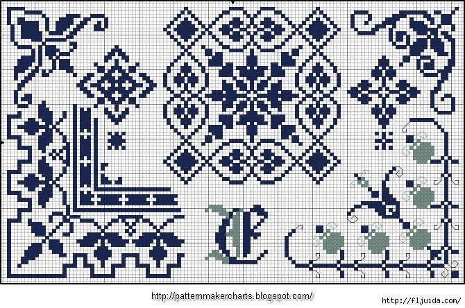 Alphabete und Muster zum Wäschezeichnen und Sticken 14 (670x444, 305Kb)