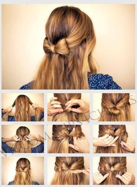 Как сделать бант на голове с распущенными волосами