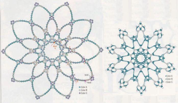 Схемы новогодних изделий из бисера.  Схема плетения снежинки из бисера. сюрпризы на день рождения.