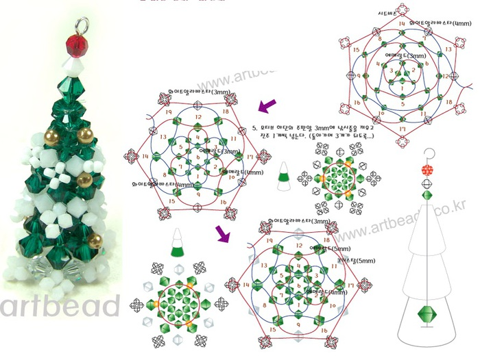 """Две миниатюрные елочки сплетенные из кристаллов.  Техника плетения фуллерен  """"по кругу  """".  Отличия в том, что."""