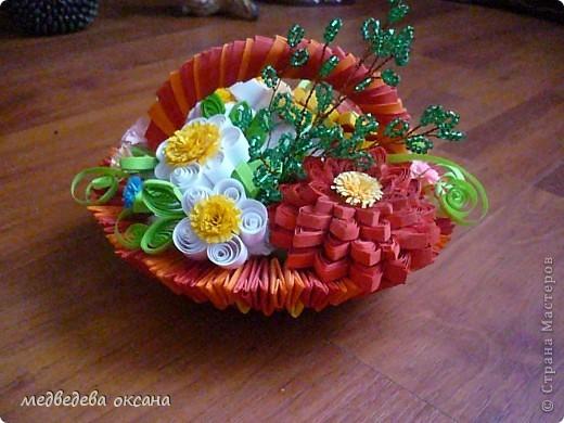 Корзинка с цветами Бисер