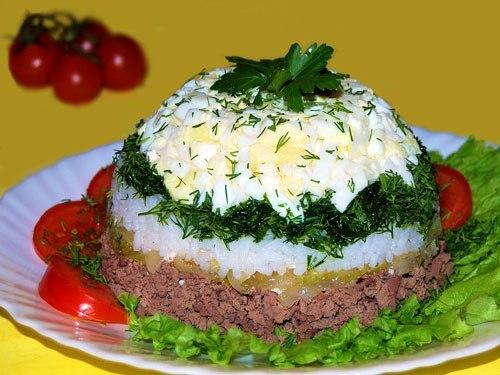 Салат с печенкой с фото