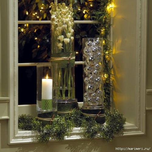 Как украсить подоконник к новому году своими