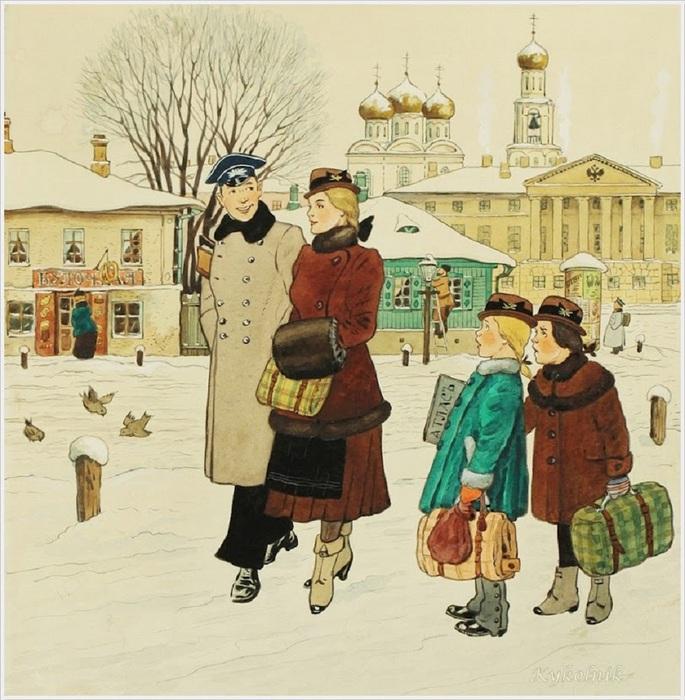 Кузнецов Константин Константинович (Россия, 1895-1980) «Прогулка» (685x700, 165Kb)