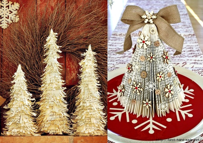 white Christmas tree -  music sheet Christmas Trees tutorial,  Christmas book tree  (700x494, 360Kb)