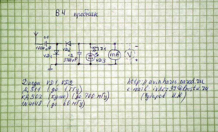 Сделал вот такой ВЧ-пробник.  Диоды взял первые в списке Антенна на пробнике - проволока медная d=2mm длинна L=20см.