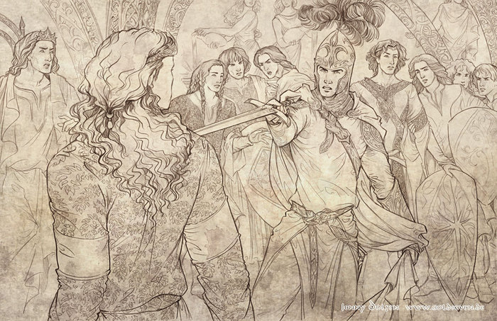 FГ«anor draws the sword on his half-brother Fingolfin and breaks the Peace of Valinor (700x453, 131Kb)