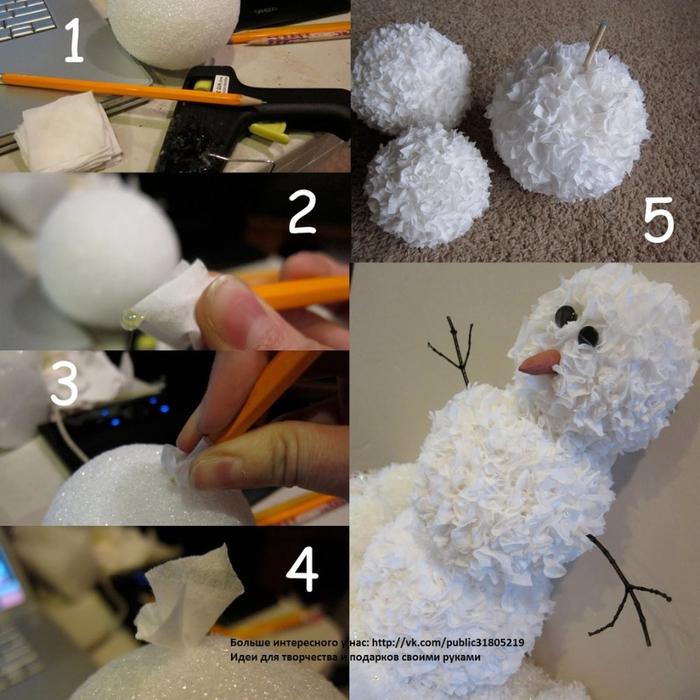 Как сделать снеговика новогоднего из бумаги