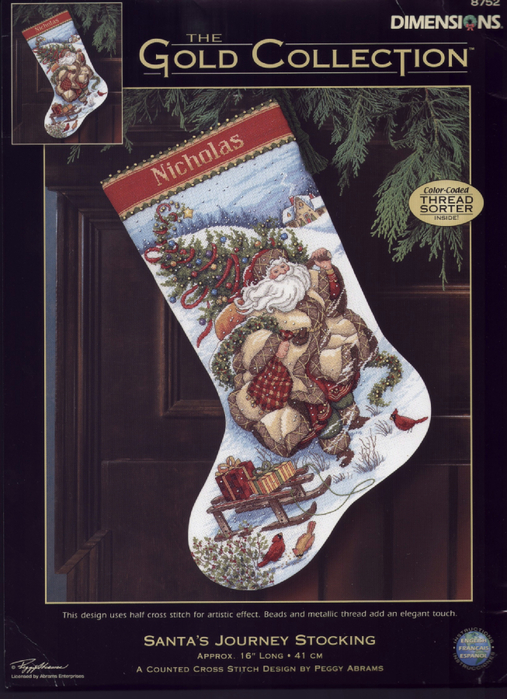 Dimensions 08752 - Santa Journey Stocking (507x700, 429Kb)