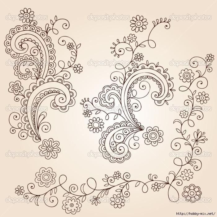 depositphotos_8247925-Henna-Mehndi-Paisley-Flowers-and-Vines-Doodle-Vector-Design (700x700, 352Kb)