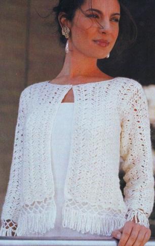 Белый ажурный жакет связан