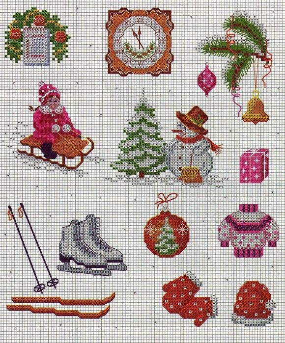 Маленькие картинки вышивок на новый год