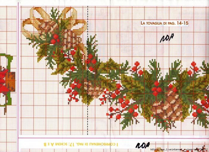 Схемы для вышивки крестом новогодние на скатерти 70