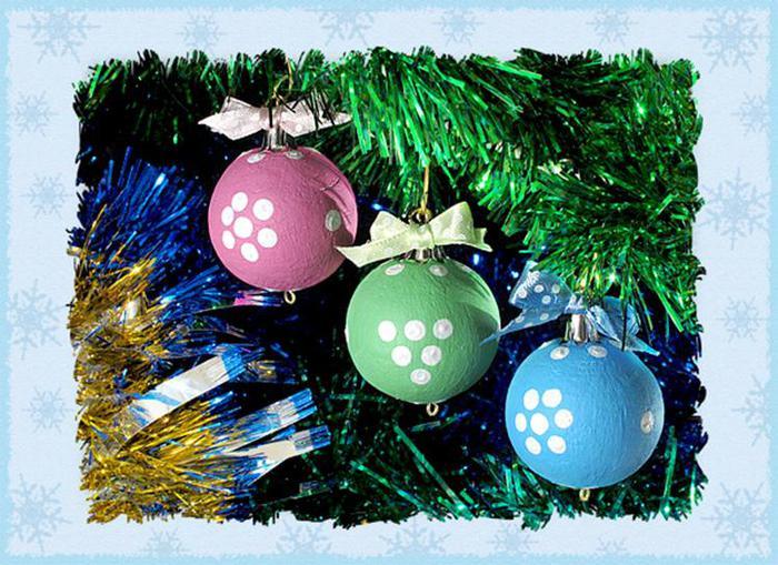 Елочные игрушки – разноцветные шарики своими руками