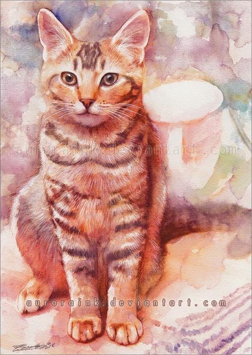 кошки в картинах Aurora Wienhold 2 (497x700, 300Kb)