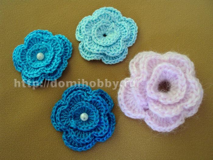 Описание вязания цветов: