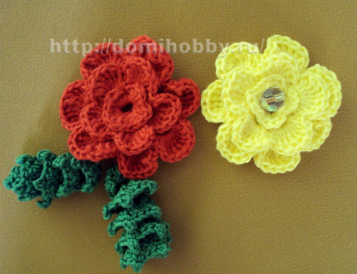 Схема цветка крючком: