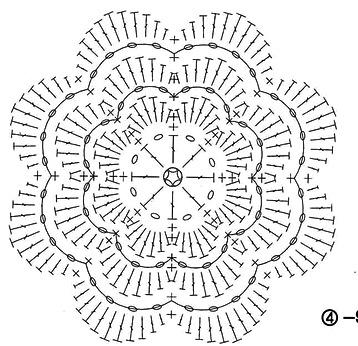 Схема вязания лепестка 7
