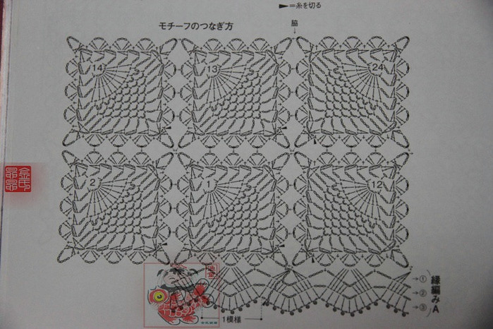 Кофточка крючком из мотивов схемы фото