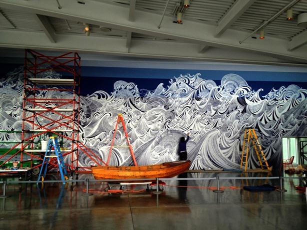 Коллективное граффити маркером на стене в музее Сиэтла. Фотографии