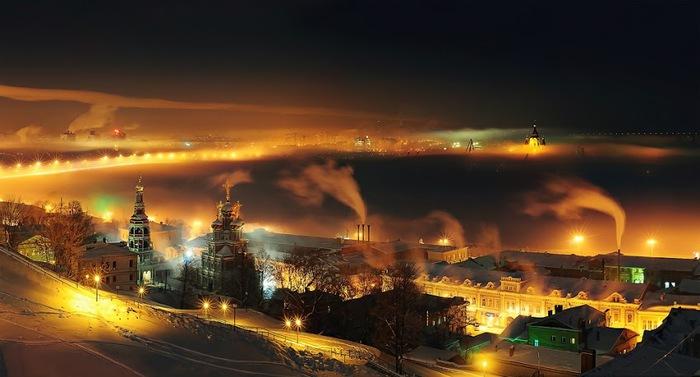 Ночь в Нижнем Новгороде, Россия (700x377, 72Kb)