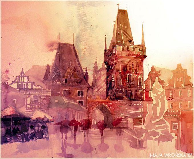 картины акварель Maja Wrońska 2 (680x556, 77Kb)