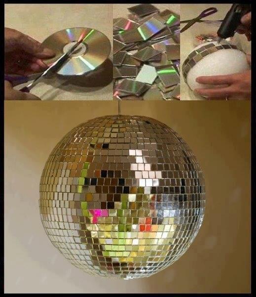 Диско шар сделать из дисков своими руками