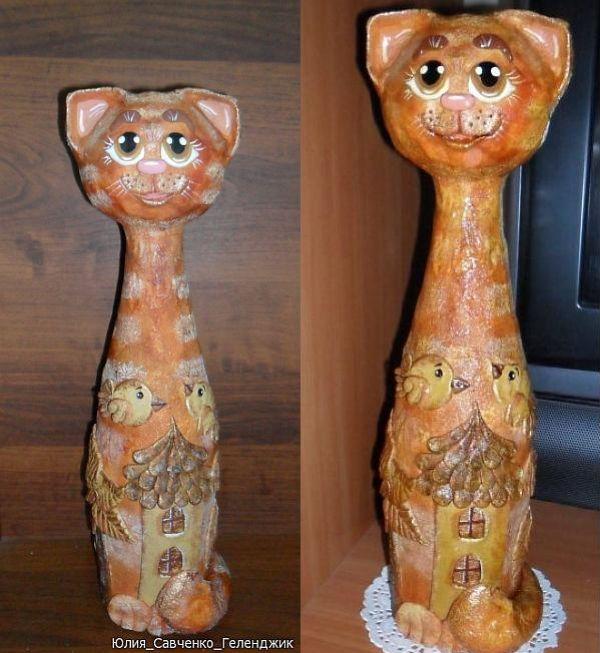Кот на бутылке из соленого теста